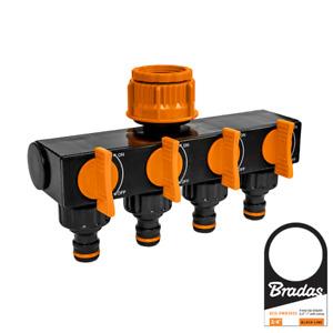 Bradas 4 fach Wasserverteiler Absperrhahn Schlauchverteiler für Gartenschlauch B