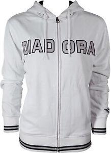 Diadora Womens Hoody White Full Zip Hooded Jacket Casual Stylish Sports Hoodie