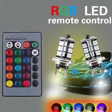 2x RGB H7 27SMD Car LED Fog Lights Bulbs Driving DRL Remote Control Luxury Kit