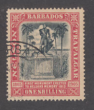 Barbados Sc 108 used. 1906 1sh Nelson Centenary, top value to set