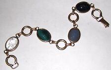 Vintage Bracelet Bezel SET SCARAB Carved Stones Gold Fill