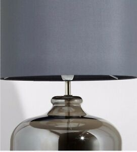 Marks & Spencer Erin Table Lamps Chrome Table Cotton Shade Smoke