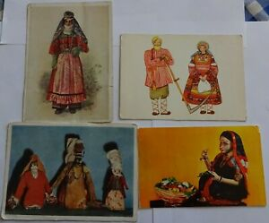 4 Postcards USSR Folk costumes 1930s, 1960s.
