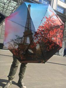 Big Windproof Umbrella Steel Ribs Oil Painting Paris Anti-UV Sun Or Rain Large