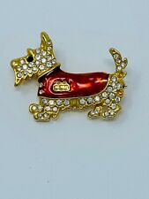 Vintage Jewelry Scotty Dog Brooch, 1980's Rhinestone, Red Enamel Dog