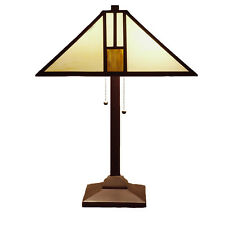 Warehouse of Tiffany White Missionstyle Table Lamp Stain Glass Metal Base 25in