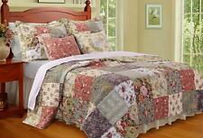 Beautiful Cozy Cottage Floral Patchwork Blue Green Pink Purple Rose Quilt Set