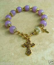 Genuine Purple Lavender Jade Crystal Antique Gold P Rosary Bracelet