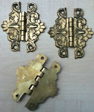 "Antique Style Door Hardware Brass 3"" Ornate Hinges Backflap Box Cupboard (HS246)"