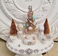 vtg NATIVITY Christmas bottle brush tree ornaments plaque JESUS figure jewelry *