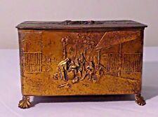 Antique Brass Music Box W/ Raised Figural Scenes All Around Thorens Switzerlandn