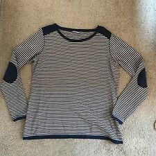 Marks and Spencer Grey Striped Crew neck Sweater Jumper M&S Cotton Cardigan