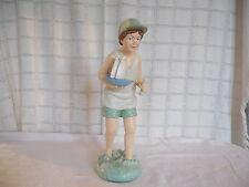 "Nice resin boy with boat figure 13 1/4"" nautical decor boy's room decor"