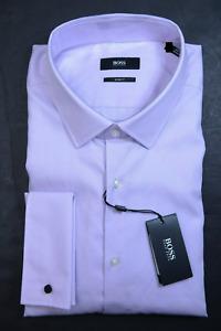 Hugo Boss Men's Lexington Slim Fit French Cuff Purple Cotton Dress Shirt 38 15