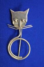 VINTAGE MODERNIST CAT PIN BROOCH 925 STERLING SILVER SIGNED TAXCO MEXICO