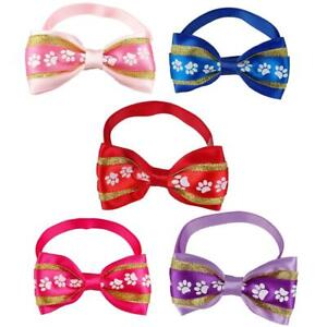 5Pcs Dog Bow Ties Summer Adjustable Bowtie Pet Collars Grooming Accessories