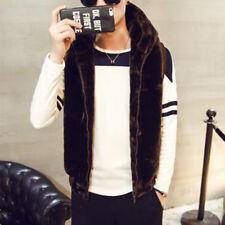 HOT SALE Mens boys faux fur Thicken Waistcoat Hoodie coat Sleeveless waist Vest