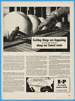 1944 Southern Pacific Railroad Texas Louisiana Sunset Route Map WWII Train Ad