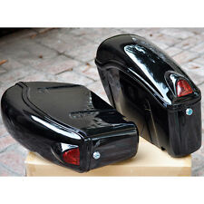 Black Motorcycle Sidecases Hard Saddle Bags Fits Most Cruisers Honda Yamaha