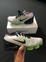 Nike Air Vapormax Flyknit 3 Grey Black Green Running Shoes AJ6900-010 Size 9.5