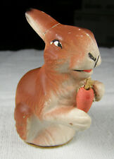 Vintage Easter Us Zone German Composition Rabbit with Carrot Candy Container