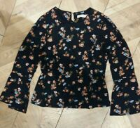 Oasis Womens Black Floral Flared Sleeves Top Blouse Size 10