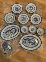 Vintage Blue/White Dragon Rice Pattern Porcelain Dinner Set from China (16 pcs)