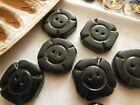 lot 6 boutons anciens en bois noir peint croix de Malte diamètre: 2 cm ref 2262
