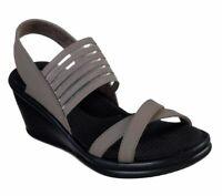 Women's Skechers® Cali Rumblers Solar Burst Taupe Platform Wedge Sandals Sz 10