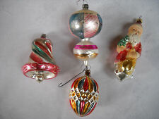 4  lg Vintage Mercury Glass Ornament  Santa  Bell Hand painted