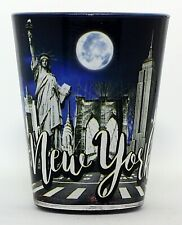 New York Night Skyline and Landmarks Collage Shot Glass