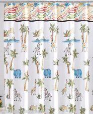 Saturday Knight Fabric Shower Curtain Safari Palm Trees Hippo Giraffe Monkey