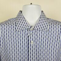 Bugatchi Uomo Classic Fit Blue Geometric Check Mens Dress Button Shirt Size XL