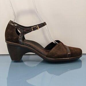 DANSKO Womens US 8.5 / EU 39 Brown Suede Mary Jane Clogs Heels Ankle Strap Shoes