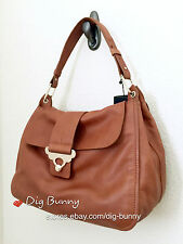 NWT ZARA REAL LEATHER CITY SHOULDER BAG WITH GOLD DETAIL TAN BROWN CARAMEL
