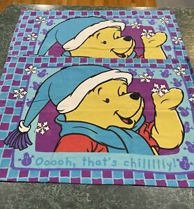 Vintage Lot Of (2) Disney Winnie The Pooh Flannel Double Sided Pillowcases