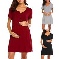 Women's Short Sleeve Pregnancy Midi Dress Maternity Nursing Summer Casual Party