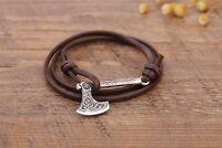 Vintage Viking Knot Slavic God Symbol Axe Anchor Pendant Nordic Amulet Bracelet