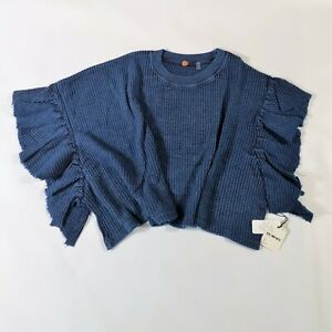 Free People Ribbed Thermal Canyon Cropped Top Boxy flutter sleeves Size Small