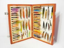 Vintage Wooden Foam Lined Salmon Fly Box & 44 x Various Salmon Flies