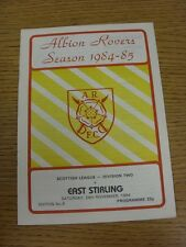 24/11/1984 Albion Rovers v East Stirlingshire  (Excellent Condition)