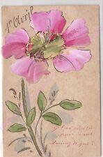 CPA FANTAISIE DECOUPIS 1er avril fleur peinte à la main