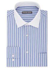 NWT $95 GEOFFREY BEENE Men's REGULAR-FIT BLUE WHITE STRIPE DRESS SHIRT 18 36/37