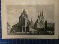 Der Dom zu Erfurt J.v.Bauschenfels Stahlstich L. Bechstein Leipzig 1840 H7987