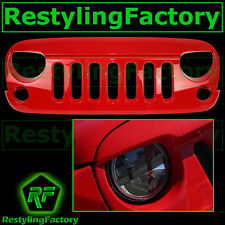 Front Hood Flame Red Replacement Grille Shell Rubicon for 07-17 Jeep JK Wrangler