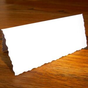 100 x White Deckle Edge Wedding Place Name Card Settings, Party Place Cards EC