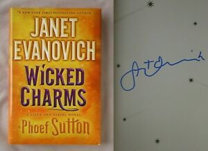 Signed 1st Ed WICKED CHARMS Janet Evanovich Phoef Sutton HARDCOVER LIZZY DIESEL