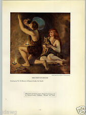 1927 PAPER AD Caveman Woman Cave Drawings Wolf Commercial Printing Award Winner