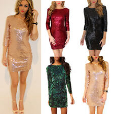 Womens Party Evening Xmas Cocktail Sequins Bodycon Club Mini Pencli Dress UK6-16