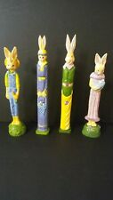 Wood Carved Colorful Bunnies